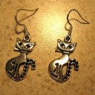 Earrings Pierced Tibetan Silver Cat Charm NEW #564