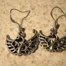 Earrings Tibetan Silver Coin Swan Pierced Dangle NEW #741