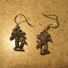 Earrings Tibetan Silver Palm Tree Charm Pierced Dangle NEW #474