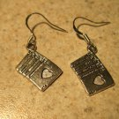 Earrings Tibetan Silver Poker Hand Charm Pierced Dangle NEW #769
