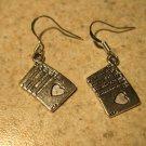 Earrings Tibetan Silver Poker Hand Charm Pierced Dangle NEW #769