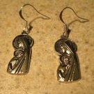 Earrings Pierced Tibetan Silver Madonna Charm NEW #605