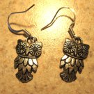 Earrings Tibetan Silver Owl Pierced NEW #560