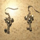 Earrings Tibetan Silver Mouse Key Charm Pierced Dangle NEW #485