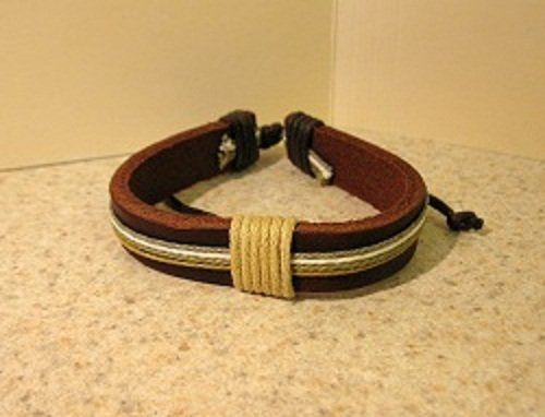 Bracelet Unisex Brown Leather with Tan, White, Green Hemp Cord Punk Style HOT! #722