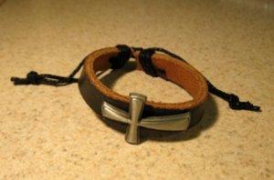 Bracelet Unisex Black Leather Cross Charm Punk Style HOT! #203