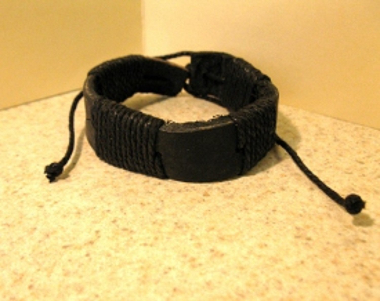 Black Leather Unisex Punk Bracelet With Black Wrapping NEW #520