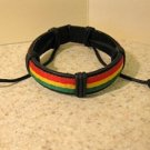 Black Leather Unisex Punk Bracelet With Red Gold & Green Band HOT! #729