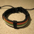 Black Leather Unisex Punk Bracelet With Red White & Green Band HOT! #750