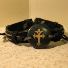 Black Leather Unisex Punk Bracelet with Cross Charm HOT! #915