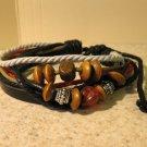 Black Leather Unisex Punk Bracelet with Wooden Beads HOT! #916