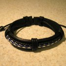 Black Leather Unisex Punk Bracelet with White Weave Design HOT! #813