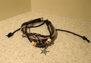 Brown Leather Unisex Punk Bracelet with Star Charm Design HOT! #46