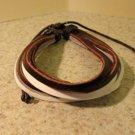 Brown & White Leather Unisex Punk Surfer Bracelet with Hemp Cord & 6 Layers of Leather HOT! #724