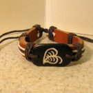 Brown Leather Unisex Punk Surfer Leaf Design Bracelet HOT! #264