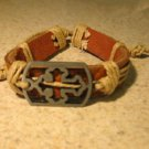 Brown Leather Unisex Punk Surfer Open Cross Charm Design Bracelet HOT! #202