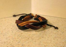 Brown Black & Tan Leather Unisex Punk Surfer Weave Design Bracelet HOT! #201