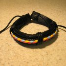 Black Leather Unisex Punk Surfer Weave Design Bracelet HOT! #824