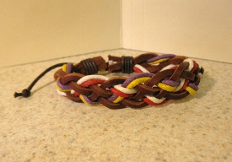 Brown Leather Unisex Punk Surfer Bracelet With Multi Color Weave Design HOT! #266