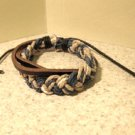 Brown Leather Unisex Punk Surfer Bracelet With Multi Color Weave Design HOT! #45