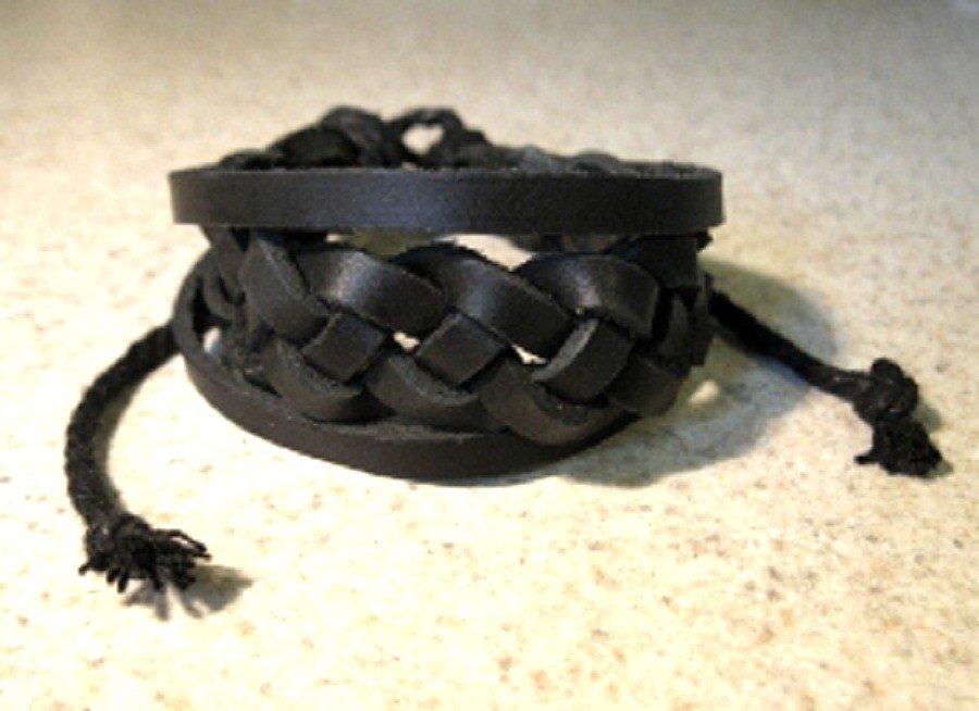 Black Leather Unisex Punk Surfer Bracelet With Braid  Design HOT! #41