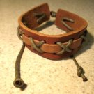 Brown Leather Unisex Punk Surfer Bracelet With Cross Stitch  Design HOT! #40