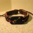 Brown Leather Unisex Punk Surfer Bracelet With Guitar Charm  Design HOT! #917