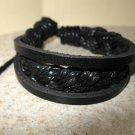 Black 3 Layer Leather Unisex Punk Surfer Bracelet HOT! #922
