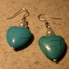 Genuine Turquoise and White Pearl Heart Earrings New and Beautiful #561