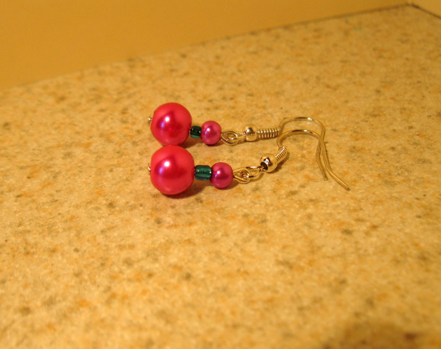 Pink With Blue Double Pearl Dangle Earrings New and Beautiful #699