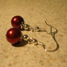 Red Pearl Dangle Earrings New and Beautiful #277