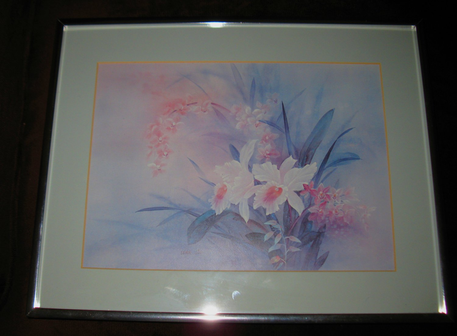 Beautiful Orchid Picture Matted & Framed Art! #D105