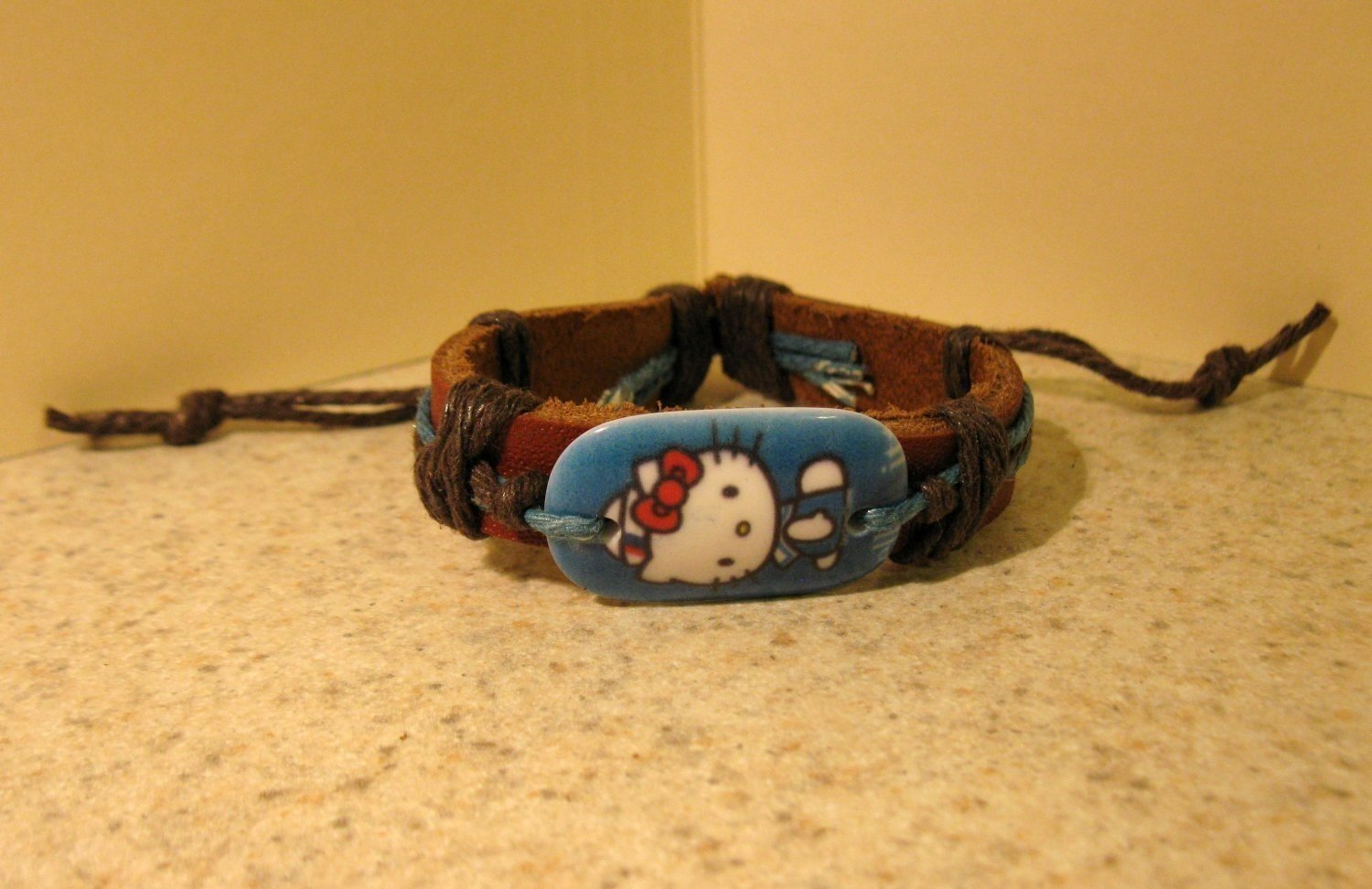 Childs Blue Hello Kitty Charm Brown Leather Punk Bracelet New #612