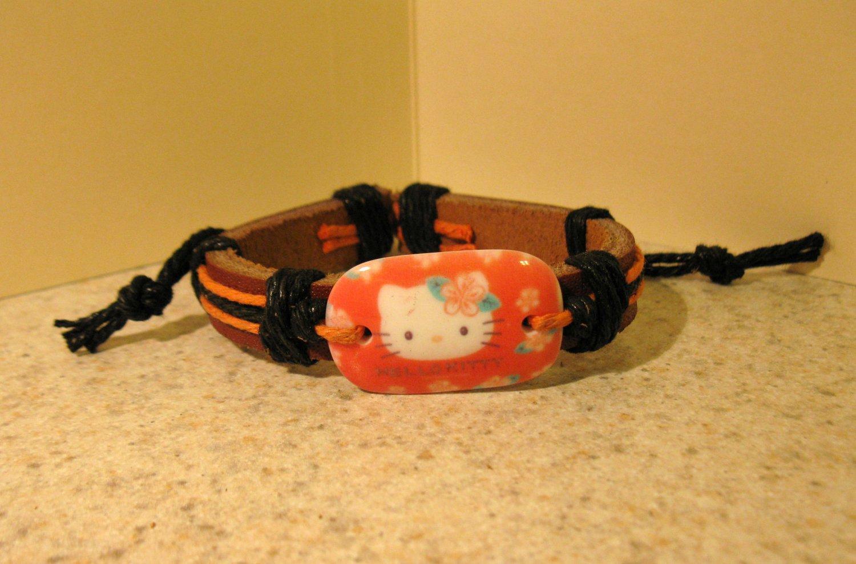 Childs Hello Kitty Orange Charm Brown Leather Punk Bracelet New #614