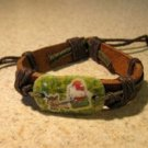 Childs Hello Kitty Christmas Charm Brown Leather Punk Bracelet New #693