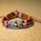 Childs Hello Kitty Blue Broom Charm Brown Leather Punk Bracelet New #692