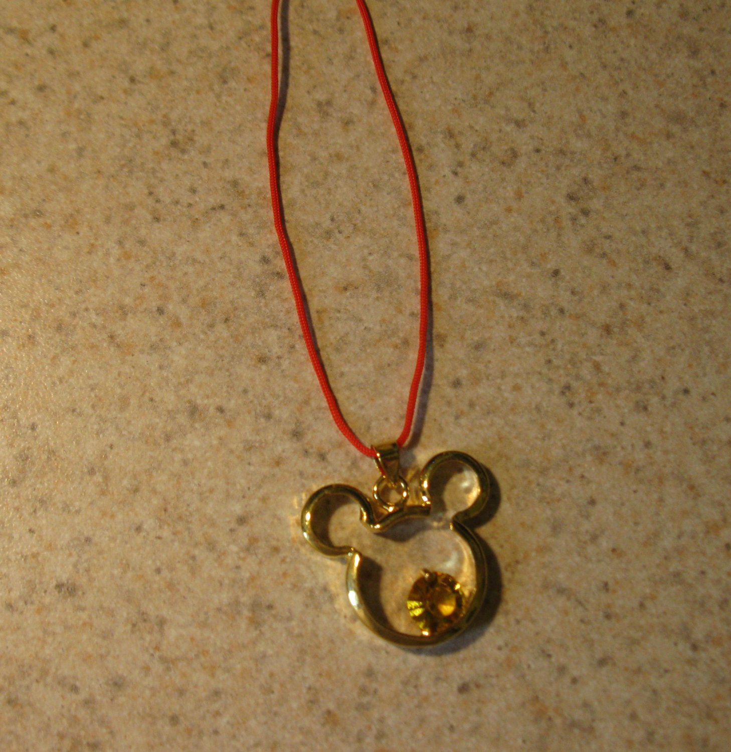 Beautiful Golden Crystal Mickey Mouse Child Necklace & Pendant New #542