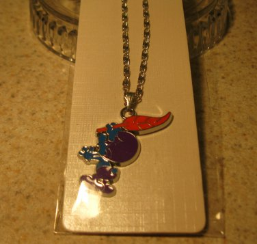 Purple Smurf with Orange Feather Necklace & Pendant New #339