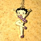 Purple Betty Boop with Yellow Garter Necklace & Pendant New #636