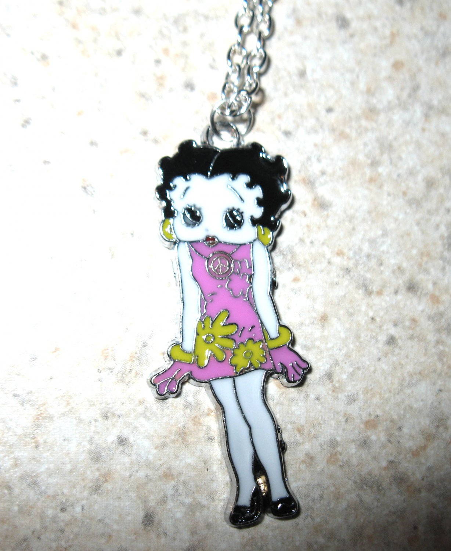 Pink Flower Dress Betty Boop Necklace & Pendant New #763