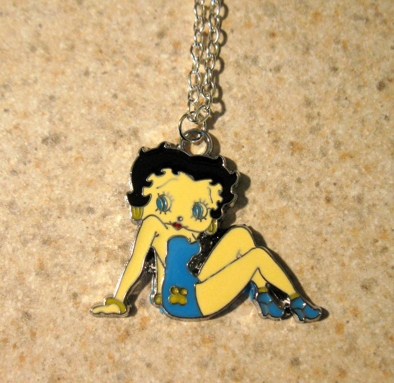 Aqua Swimsuit Betty Boop Necklace & Pendant New #759