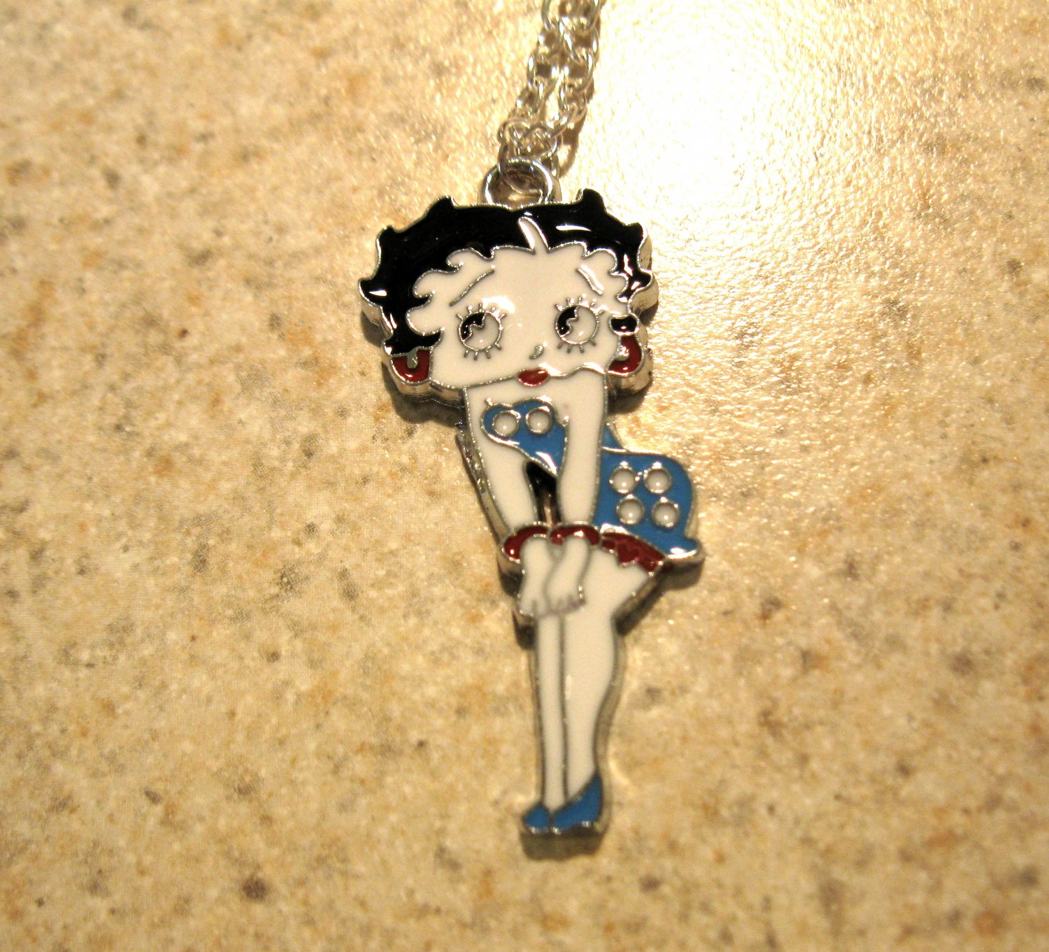 Aqua Polka Dot Betty Boop Necklace & Pendant New #639
