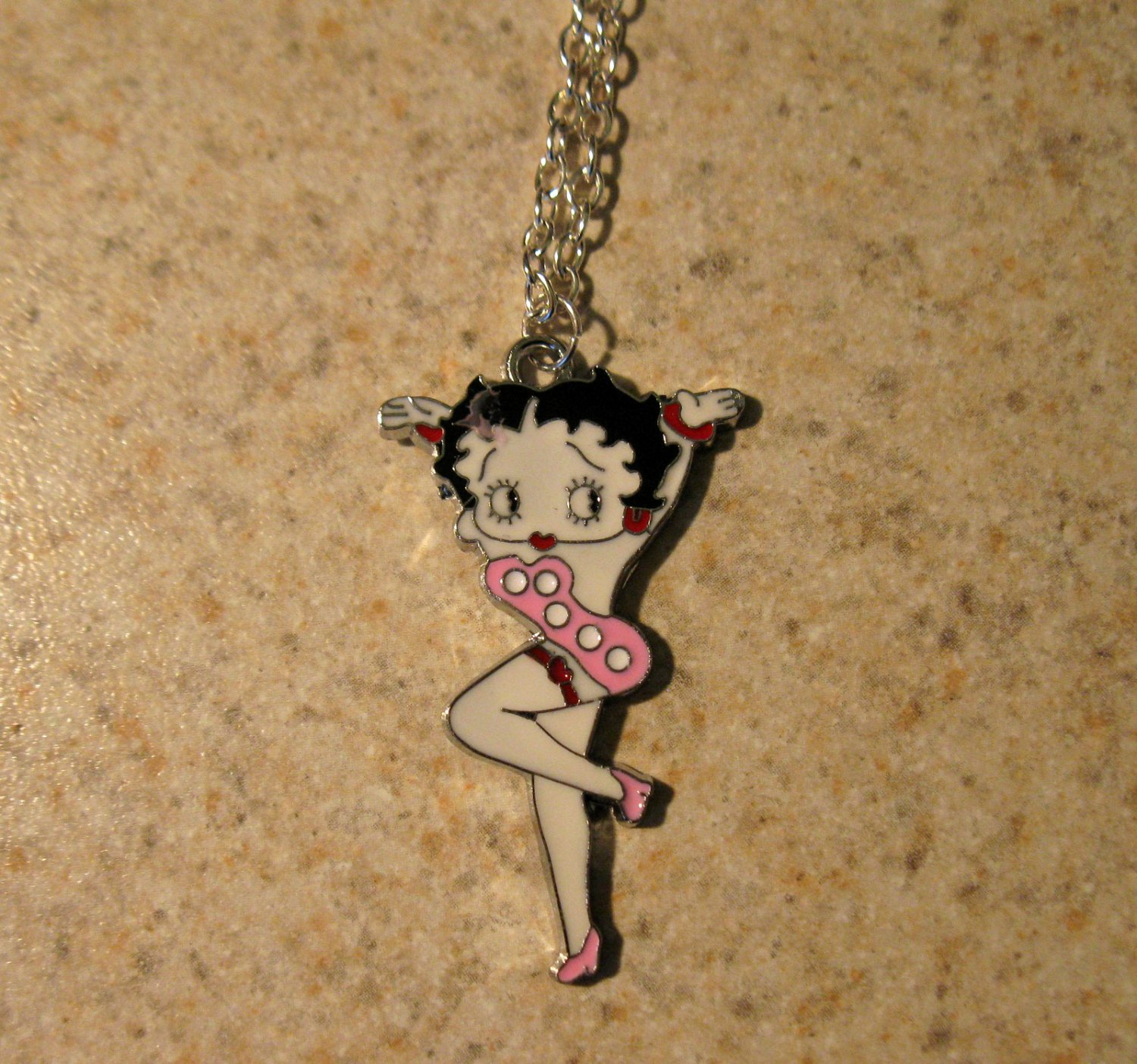 Pink Betty Boop with Red Garter Child Necklace & Pendant New #758