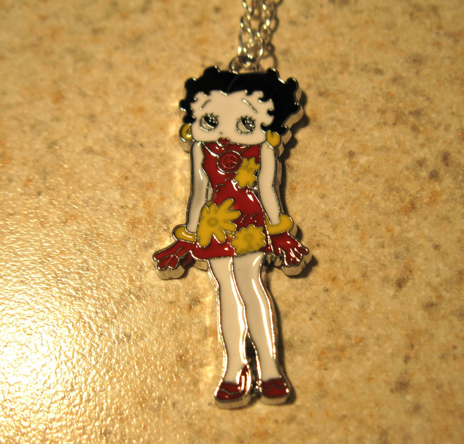 Red Flower Dress Betty Boop Child Necklace & Pendant New #633