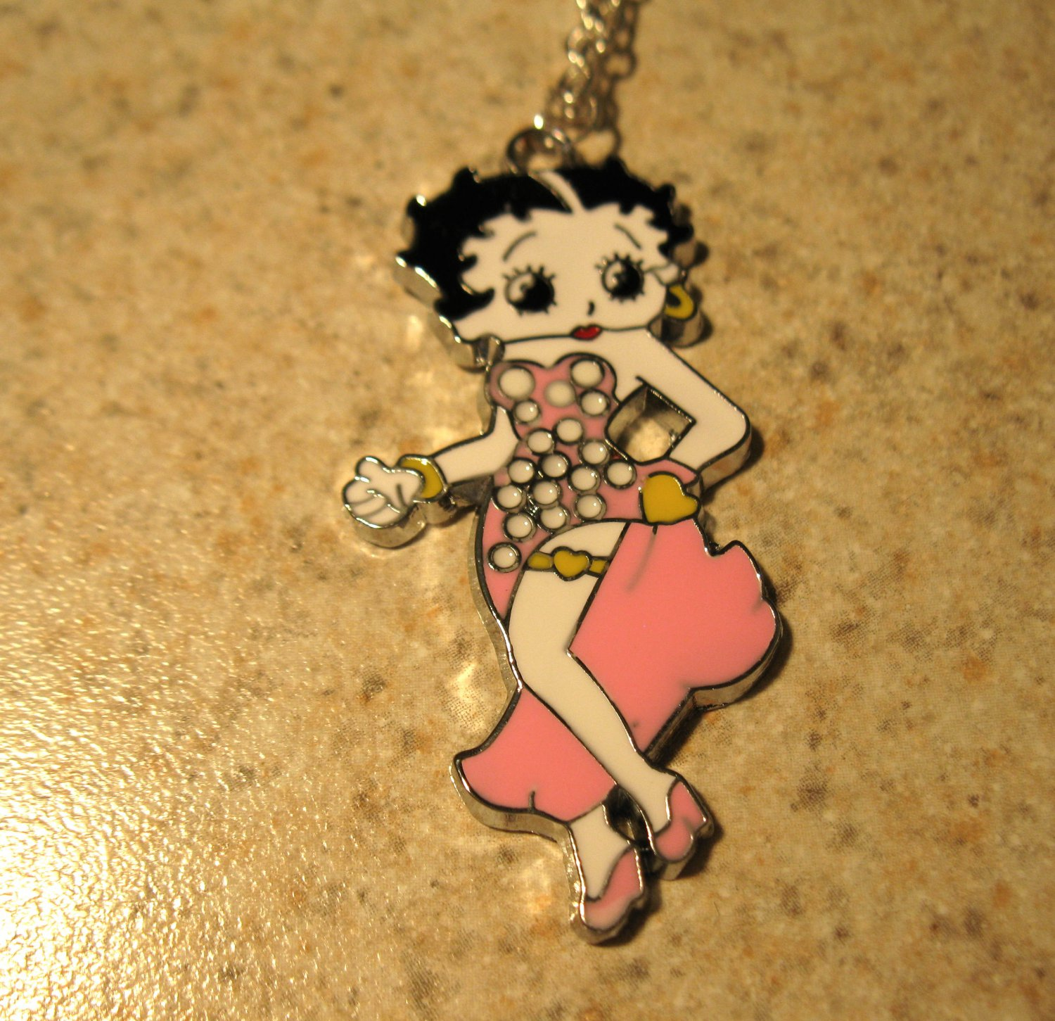 Pink Polka Dot Betty Boop Necklace & Pendant New #634