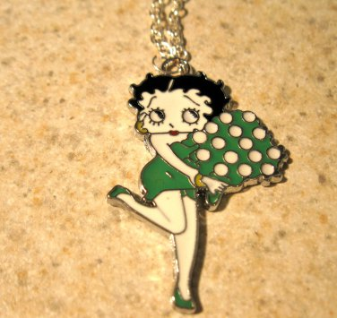 Green and White Dice Betty Boop Child Necklace & Pendant New #638