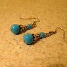 Beautiful Aqua Jade Dangle Pierced Earrings NEW! #858
