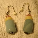 Beautiful Green Jade With Pink Crystal Dangle Pierced Earrings NEW! #224