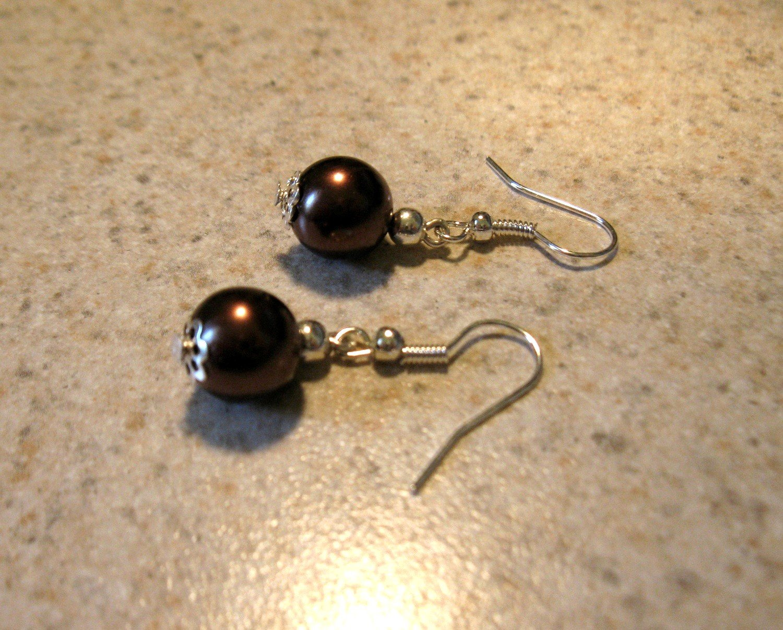 Beautiful Chocolate Pearl Tibetan Silver Dangle Pierced Earrings NEW! #792