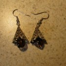 Beautiful Purple Bead Tibetan Silver Dangle Pierced Earrings NEW! #474
